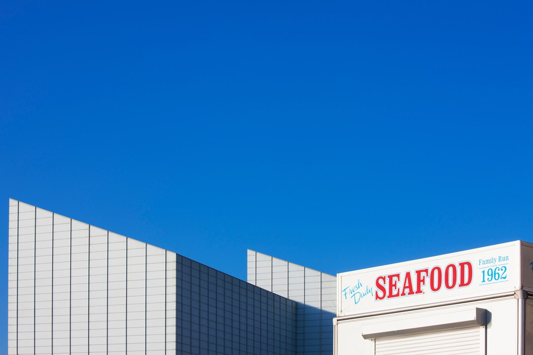 Seafood sign in front of Turner Contemporary art gallery Margate Kent conde nast traveller 17aug17 alamy 1080x720